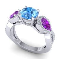Three Stone Pave Varsa Swiss Blue Topaz Ring with Amethyst and Diamond in Platinum