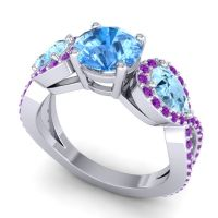 Three Stone Pave Varsa Swiss Blue Topaz Ring with Aquamarine and Amethyst in 18k White Gold
