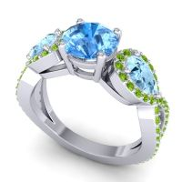 Three Stone Pave Varsa Swiss Blue Topaz Ring with Aquamarine and Peridot in 18k White Gold