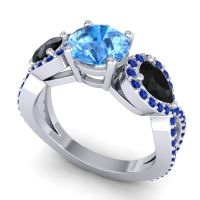 Three Stone Pave Varsa Swiss Blue Topaz Ring with Black Onyx and Blue Sapphire in 14k White Gold