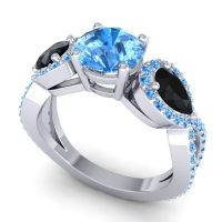 Three Stone Pave Varsa Swiss Blue Topaz Ring with Black Onyx in 18k White Gold