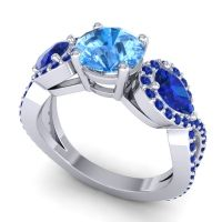 Three Stone Pave Varsa Swiss Blue Topaz Ring with Blue Sapphire in 14k White Gold