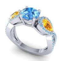 Three Stone Pave Varsa Swiss Blue Topaz Ring with Citrine and Aquamarine in Platinum