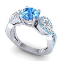 Three Stone Pave Varsa Swiss Blue Topaz Ring with Diamond and Aquamarine in Platinum