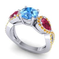 Three Stone Pave Varsa Swiss Blue Topaz Ring with Ruby and Citrine in Platinum