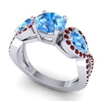 Three Stone Pave Varsa Swiss Blue Topaz Ring with Garnet in 14k White Gold
