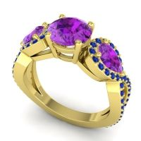 Three Stone Pave Varsa Amethyst Ring with Blue Sapphire in 18k Yellow Gold