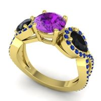 Three Stone Pave Varsa Amethyst Ring with Black Onyx and Blue Sapphire in 14k Yellow Gold