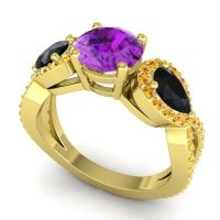 Three Stone Pave Varsa Amethyst Ring with Black Onyx and Citrine in 18k Yellow Gold