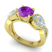 Three Stone Pave Varsa Amethyst Ring with Diamond and Aquamarine in 14k Yellow Gold
