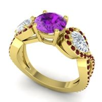 Three Stone Pave Varsa Amethyst Ring with Diamond and Garnet in 18k Yellow Gold