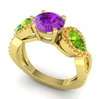 Three Stone Pave Varsa Amethyst Ring with Peridot and Citrine in 18k Yellow Gold