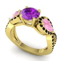 Three Stone Pave Varsa Amethyst Ring with Pink Tourmaline and Black Onyx in 14k Yellow Gold
