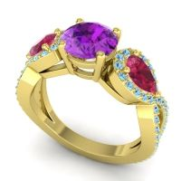 Three Stone Pave Varsa Amethyst Ring with Ruby and Aquamarine in 14k Yellow Gold