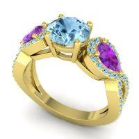 Three Stone Pave Varsa Aquamarine Ring with Amethyst in 18k Yellow Gold