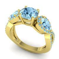 Three Stone Pave Varsa Aquamarine Ring in 14k Yellow Gold