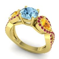 Three Stone Pave Varsa Aquamarine Ring with Citrine and Ruby in 14k Yellow Gold