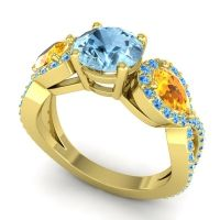 Three Stone Pave Varsa Aquamarine Ring with Citrine and Swiss Blue Topaz in 18k Yellow Gold