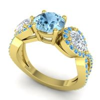 Three Stone Pave Varsa Aquamarine Ring with Diamond and Swiss Blue Topaz in 18k Yellow Gold