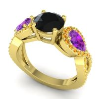 Three Stone Pave Varsa Black Onyx Ring with Amethyst and Citrine in 14k Yellow Gold