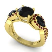 Three Stone Pave Varsa Black Onyx Ring with Garnet in 14k Yellow Gold