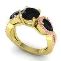 Three Stone Pave Varsa Black Onyx Ring with Pink Tourmaline in 14k Yellow Gold