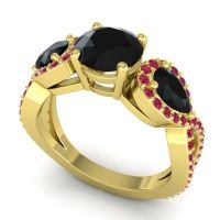 Three Stone Pave Varsa Black Onyx Ring with Ruby in 14k Yellow Gold