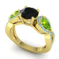 Three Stone Pave Varsa Black Onyx Ring with Peridot and Aquamarine in 18k Yellow Gold