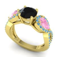 Three Stone Pave Varsa Black Onyx Ring with Pink Tourmaline and Swiss Blue Topaz in 18k Yellow Gold