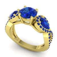 Three Stone Pave Varsa Blue Sapphire Ring in 18k Yellow Gold