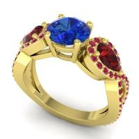 Three Stone Pave Varsa Blue Sapphire Ring with Garnet and Ruby in 18k Yellow Gold