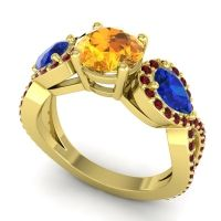 Three Stone Pave Varsa Citrine Ring with Blue Sapphire and Garnet in 14k Yellow Gold