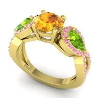 Three Stone Pave Varsa Citrine Ring with Peridot and Pink Tourmaline in 18k Yellow Gold