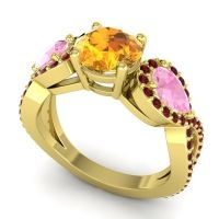 Three Stone Pave Varsa Citrine Ring with Pink Tourmaline and Garnet in 18k Yellow Gold