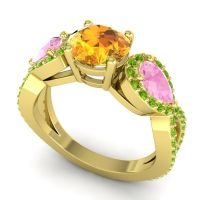 Three Stone Pave Varsa Citrine Ring with Pink Tourmaline and Peridot in 18k Yellow Gold