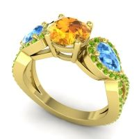 Three Stone Pave Varsa Citrine Ring with Swiss Blue Topaz and Peridot in 18k Yellow Gold
