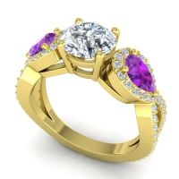 Three Stone Pave Varsa Diamond Ring with Amethyst in 18k Yellow Gold