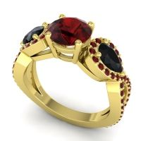 Three Stone Pave Varsa Garnet Ring with Black Onyx in 18k Yellow Gold