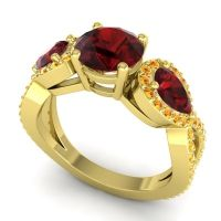 Three Stone Pave Varsa Garnet Ring with Citrine in 18k Yellow Gold