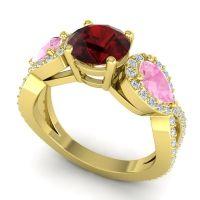 Three Stone Pave Varsa Garnet Ring with Pink Tourmaline and Diamond in 14k Yellow Gold
