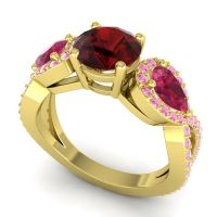 Three Stone Pave Varsa Garnet Ring with Ruby and Pink Tourmaline in 14k Yellow Gold