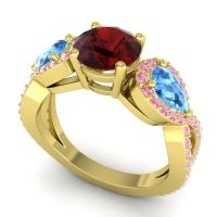 Three Stone Pave Varsa Garnet Ring with Swiss Blue Topaz and Pink Tourmaline in 14k Yellow Gold