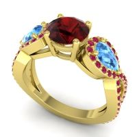 Three Stone Pave Varsa Garnet Ring with Swiss Blue Topaz and Ruby in 14k Yellow Gold