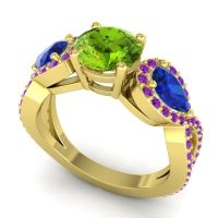 Three Stone Pave Varsa Peridot Ring with Blue Sapphire and Amethyst in 14k Yellow Gold
