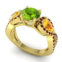 Three Stone Pave Varsa Peridot Ring with Citrine and Garnet in 14k Yellow Gold