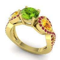 Three Stone Pave Varsa Peridot Ring with Citrine and Ruby in 18k Yellow Gold
