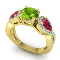 Three Stone Pave Varsa Peridot Ring with Ruby and Aquamarine in 14k Yellow Gold