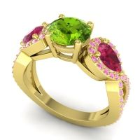 Three Stone Pave Varsa Peridot Ring with Ruby and Pink Tourmaline in 18k Yellow Gold