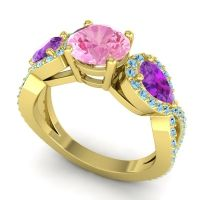 Three Stone Pave Varsa Pink Tourmaline Ring with Amethyst and Aquamarine in 14k Yellow Gold