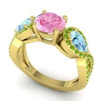 Three Stone Pave Varsa Pink Tourmaline Ring with Aquamarine and Peridot in 18k Yellow Gold
